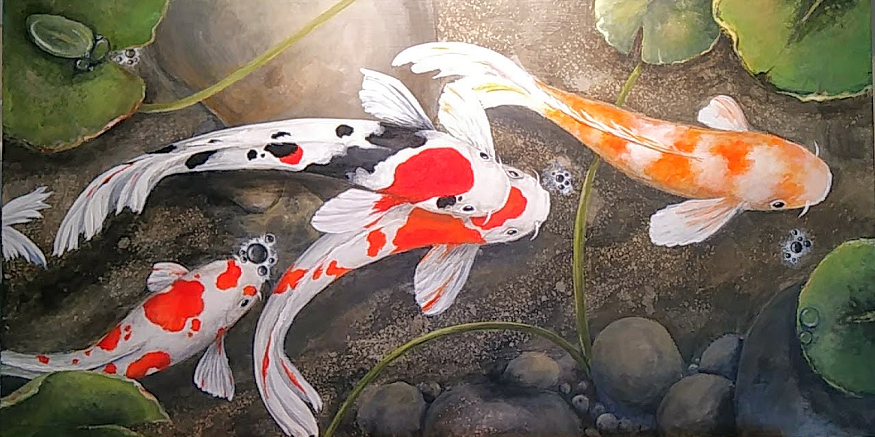 "Koi III 10 by 24"" - framed, $250"
