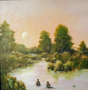 "Paddle Towards the Light, 20x20""  $165"