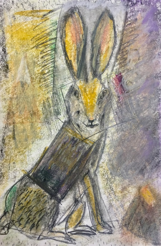 "Volcanic Hare   10x12"" framed Mixed Media"