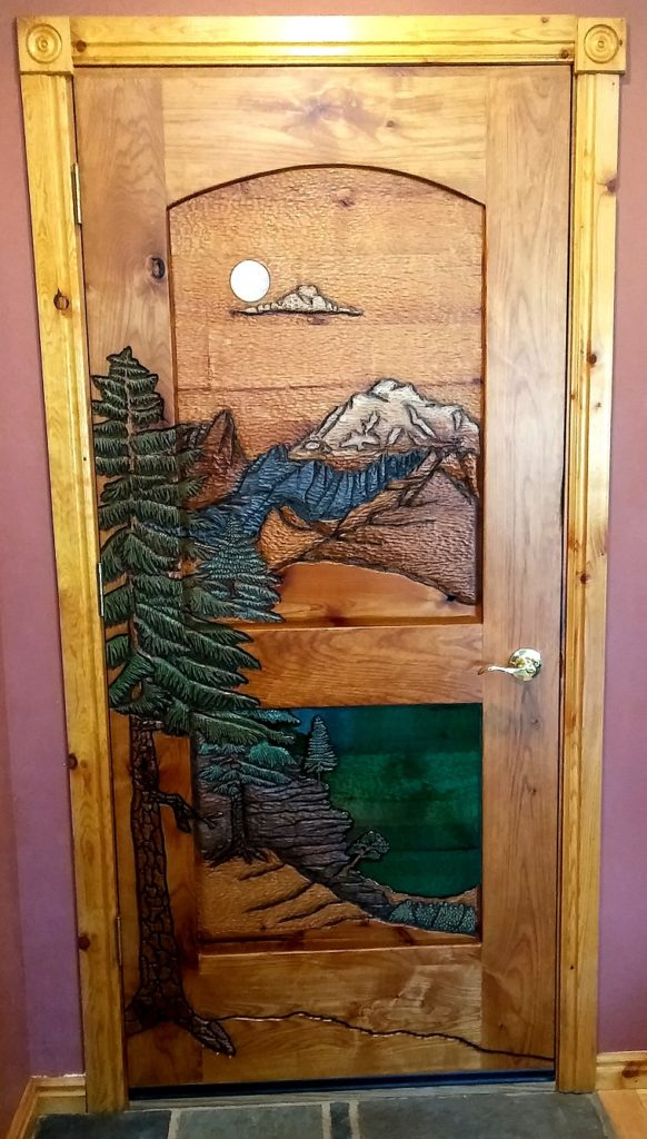 Custom Carved Mt. Rainier with Tipsoo Lake at the top of Chinook Pass. Moon made with white quartz rock and lake made with resin.