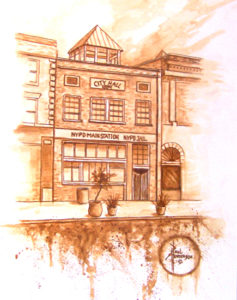 "1889 Yakima City Hall coffee on Paper 15"" x 11"" unframed $285"
