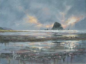"Cannon Beach Glow Acrylic on Canvas 12 x 16"" $380"