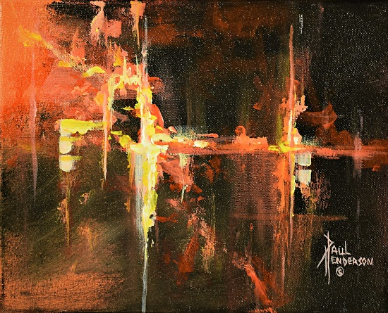 "Fiery Night Acrylic on Canvas 8 x 10"" $135"