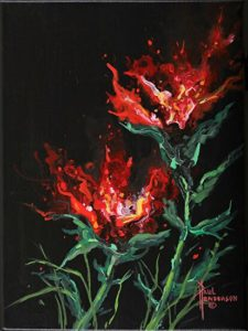 "Fire Flower I Acrylic on Canvas 12"" x 9"" unframed $155"