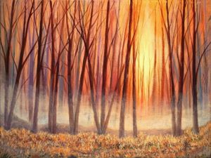 "Misty Autumn Acrylic on Canvas 18"" x 24"" unframed $395"