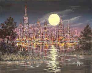 """Moon City Acrylic on Canvas 16 x 20"""" unframed $320"""