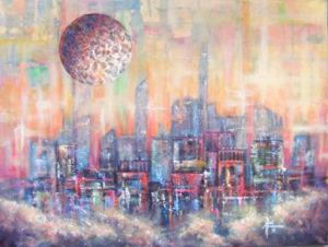 "Sky City II Acrylic on Canvas 18 x 24"" $390"