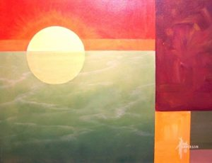 "Ocean Sunset Acrylic on Canvas 16 x 20"" unframed –SOLD–"