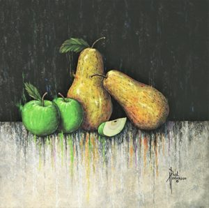 "Pears & Apples Acrylic on Canvas 24 x 24"" $470"