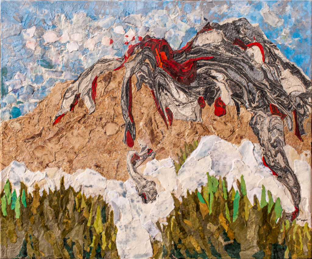 "Mt. St. Helens on May 18, 1980, 20 x 36"", collage, $700"