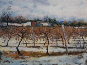 "Winter Vineyard with Magpie 18"" x 24"" $850"