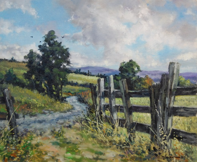 """""""Country Road with Fence"""" 20"""" x 24"""" $850"""
