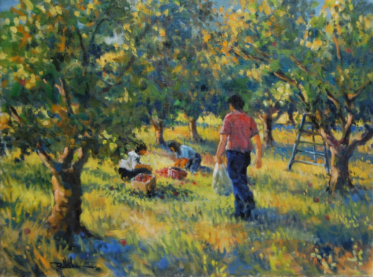 """Gleaners in an Apple Orchard 18"""" x 24"""" $850"""