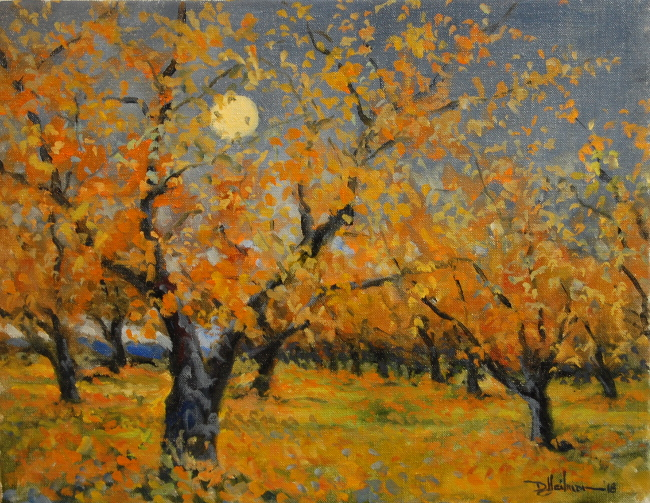 """Night Moon in a Fall Orchard 14"""" x 18"""" $400"""