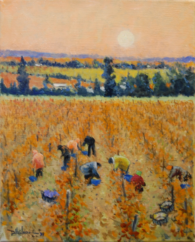 "Harvesting Fall Grapes 16"" x 20"" $650"