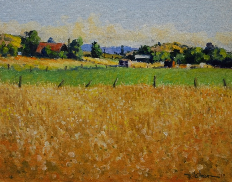 """Summer Fields and Fences 11"""" x 14"""" $250"""