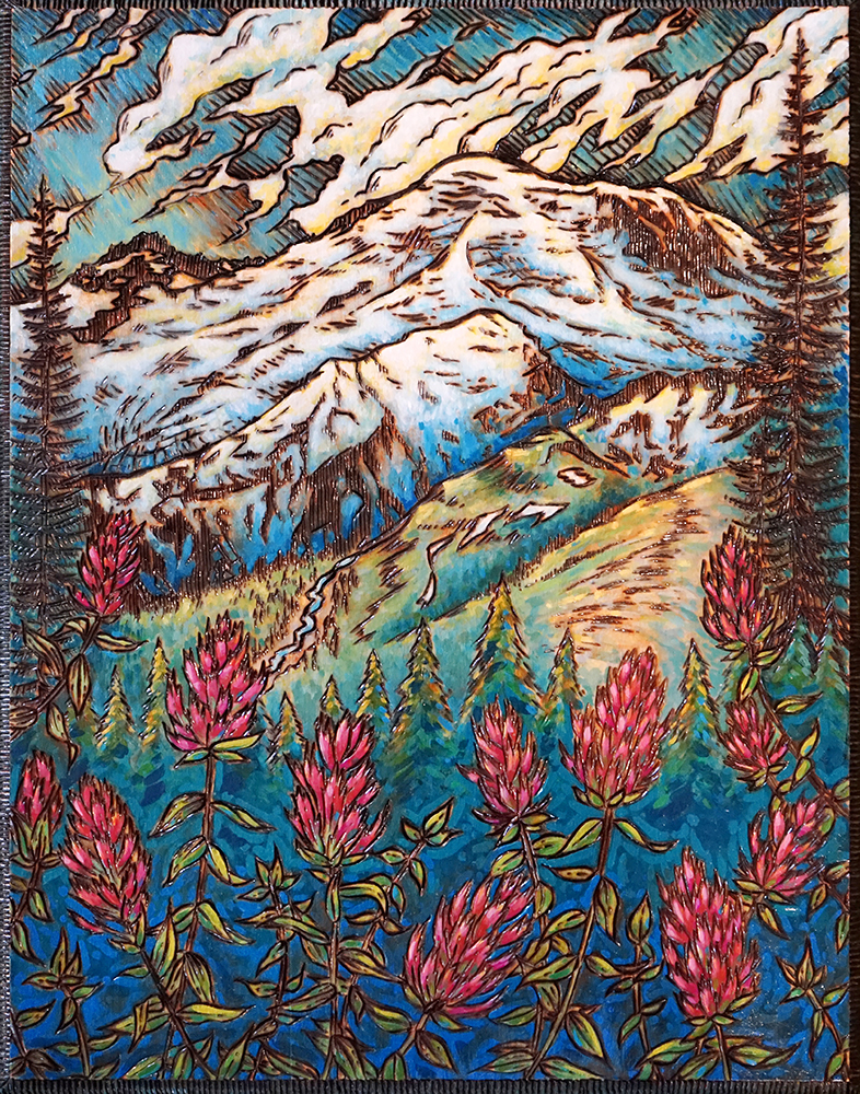 """Mt. Rainier Wood Burning and Acrylic Painting Original - 11"""" x 14"""" Price: $220 Prints also available"""