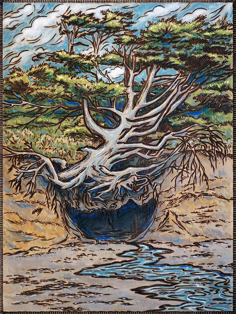 """Tree of Life, Olympic NP Wood Burning and Acrylic Painting Original - 11"""" x 14"""" Price: $220 Prints available soon"""