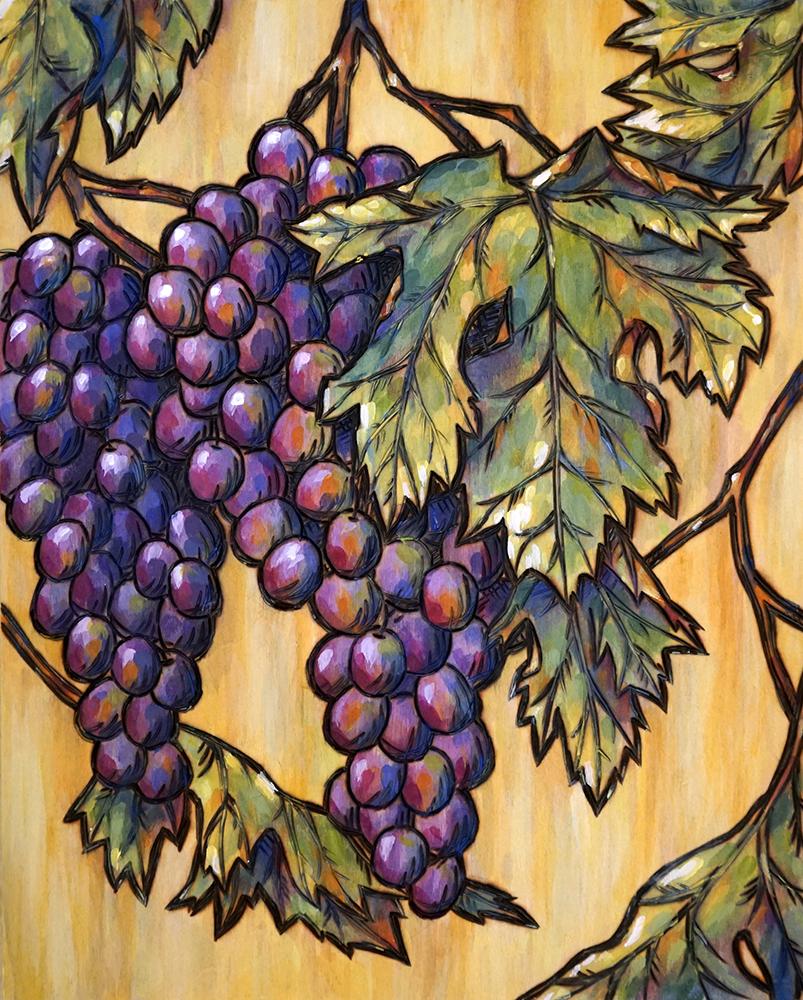 "Vineyard Grapes Wood Burning and Acrylic Painting Original - 8""x10""x1.75"" Price: $120"