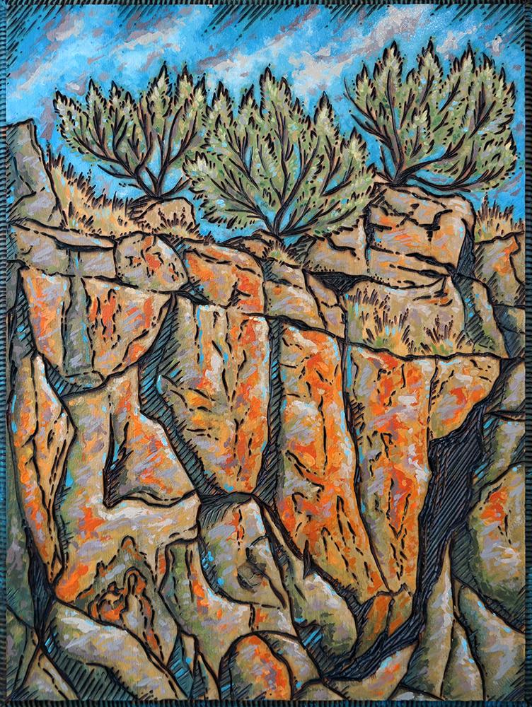 "Canyon Sage Wood Burning and Acrylic Painting Original - 9""x12"" Price: $150"