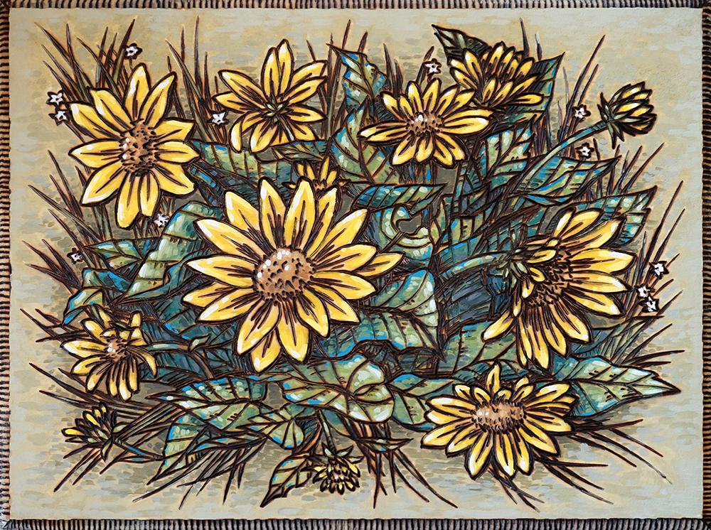 "Arrowleaf Balsamroot Wood Burning and Acrylic Painting Original - 9""x12"" Price: $150"