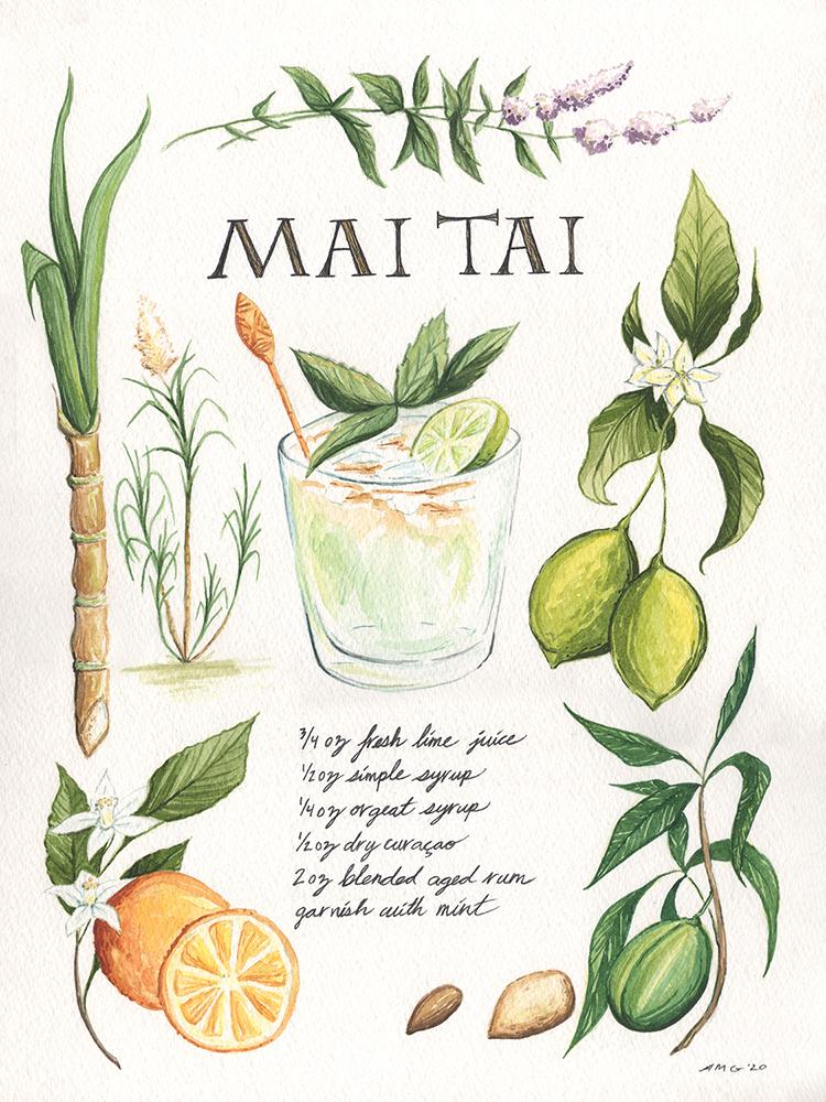 """Mai Tai Botanical Print - 11""""x14"""" Price: $32"""