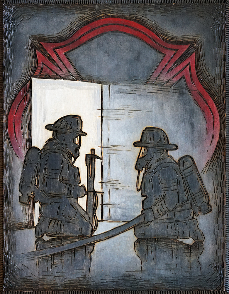 """Firefighters Training  Wood Burning and Acrylic Painting  Original - 11"""" x 14""""  Price: $220  Prints available soon"""