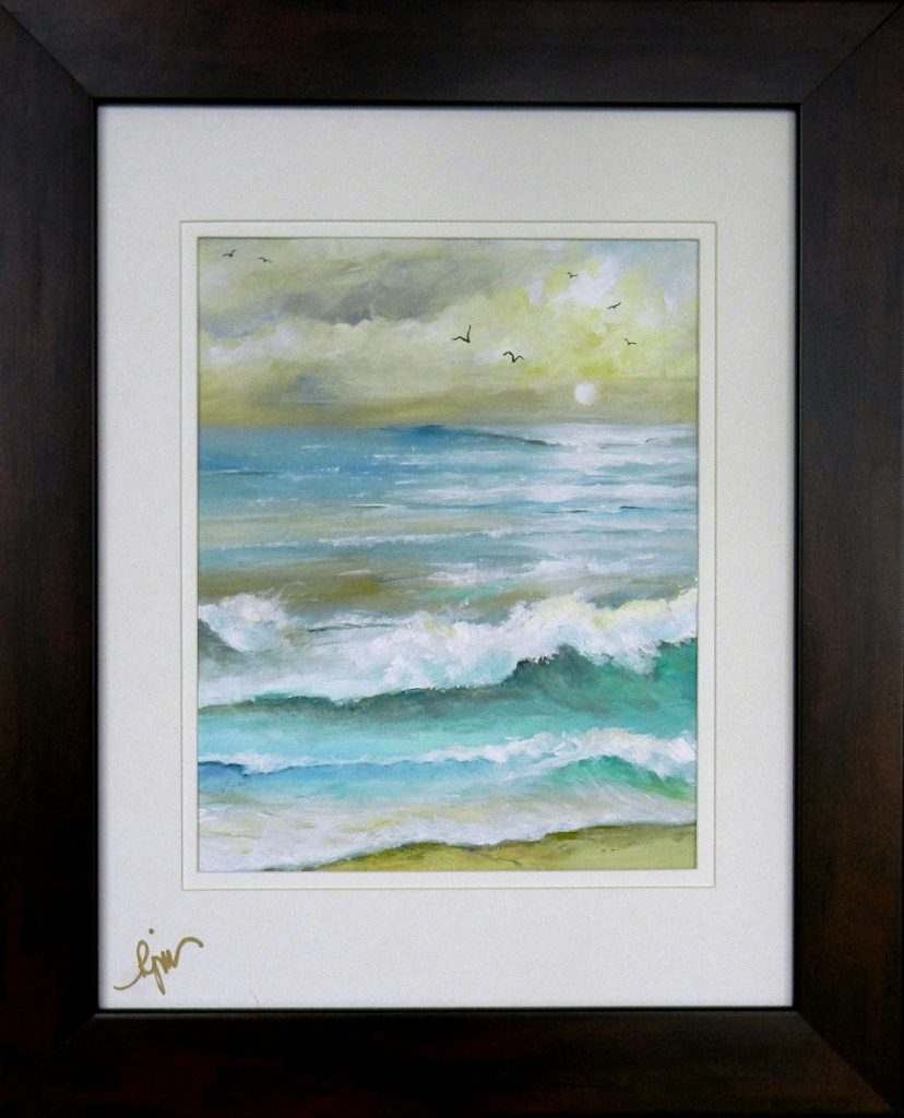 """Gulls in a Stormy Sunset, 7.5"""" by 9.5"""" + Frame - $100"""