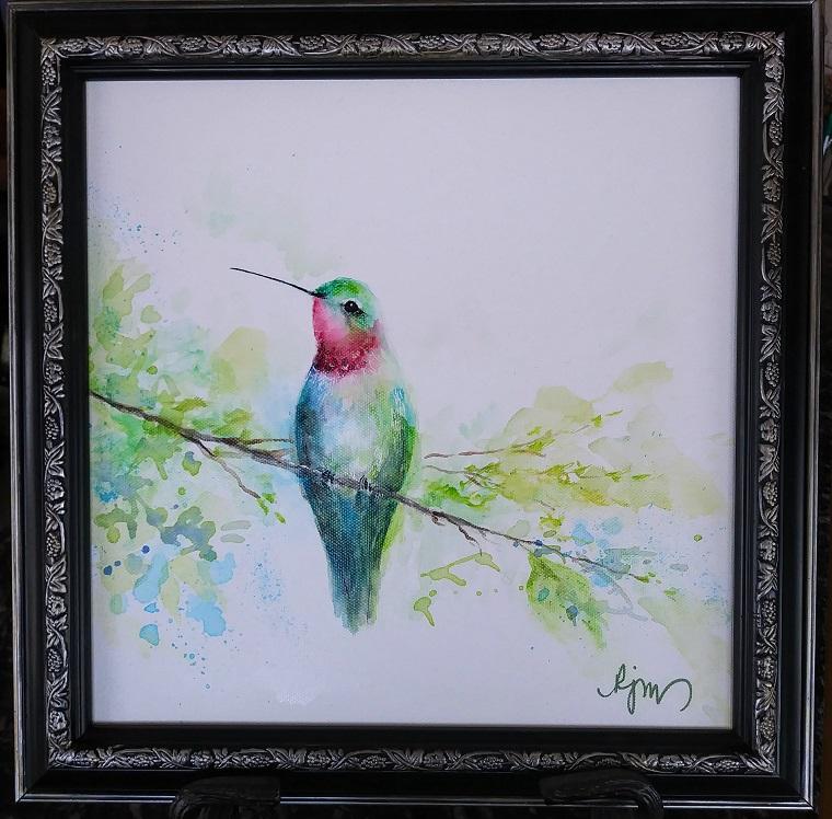 "Hummer, 15"" by 15"" framed - $140 by Becky Melcher"