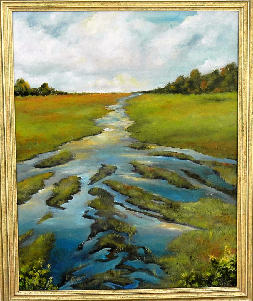 """Low Water in the Meadow, 16"""" by 20"""" + Frame - $175"""