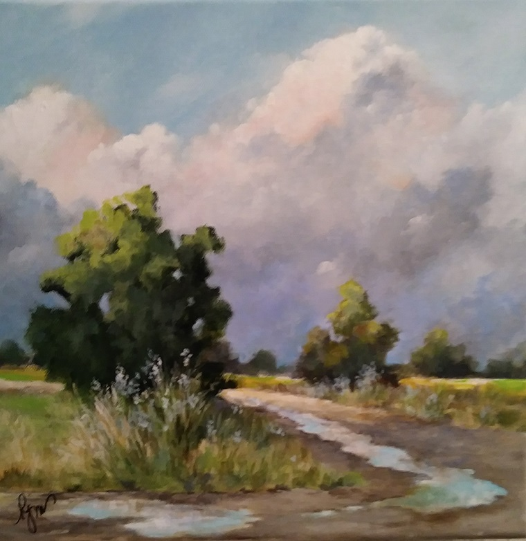 """After the Storm 14.5"""" by 14.5"""" - $170  (framed)"""