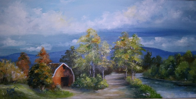 "Red Barn, 12"" by 24"" Framed - $120"