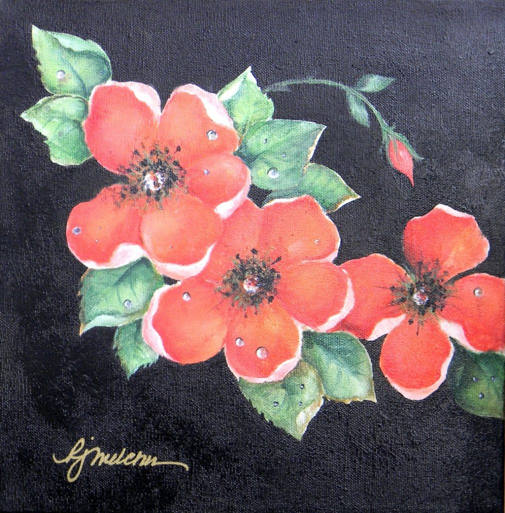 """Red Wild Roses, 10"""" by 10"""" - $75"""