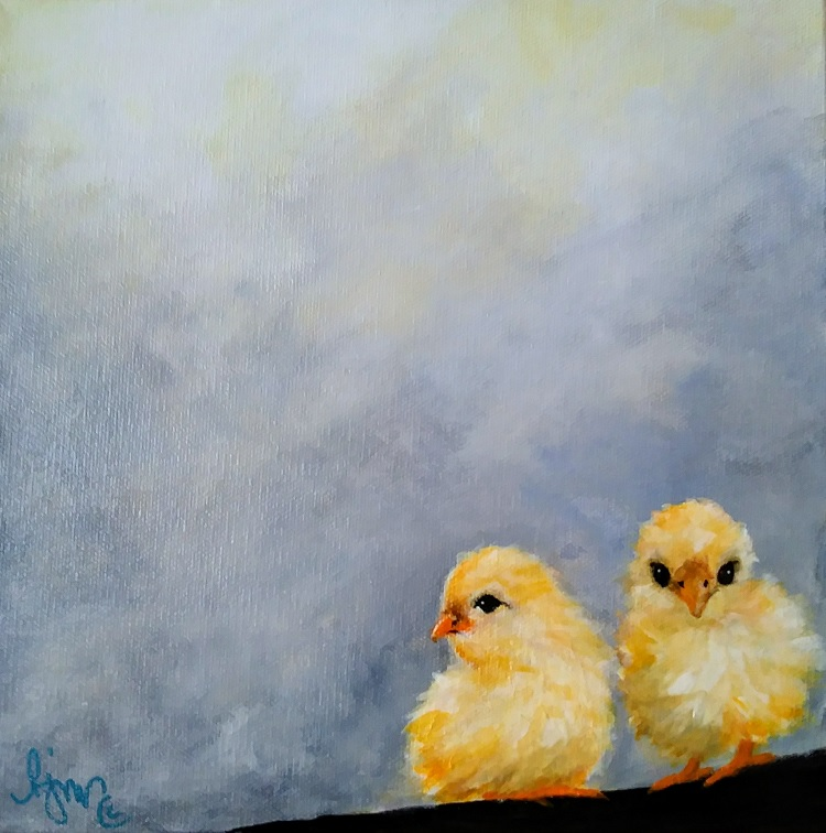"""Two Chicks 10"""" by 10"""" $140 by Becky Melcher"""