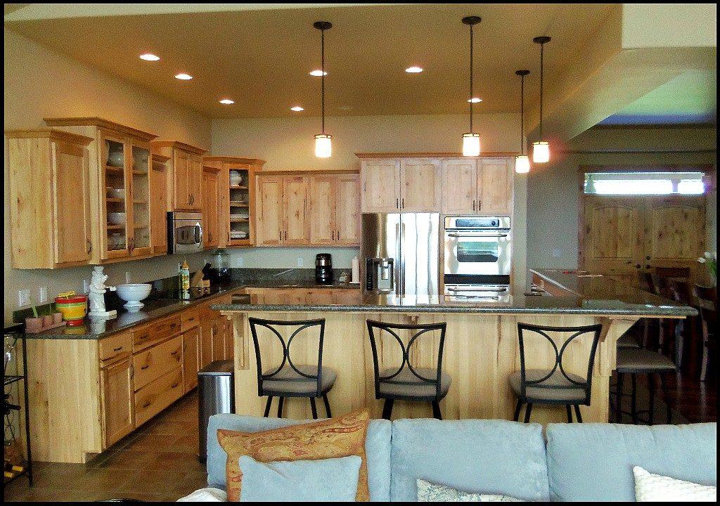 Custom hickory kitchen cabinets.