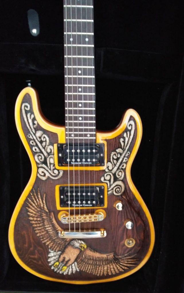 Custom carved guitar - front.