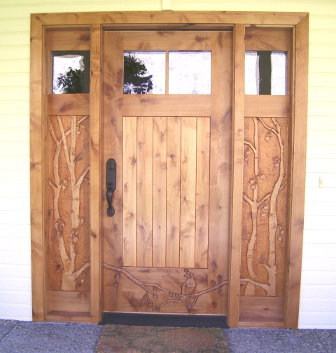 Quail and Birch Carved Entry Door