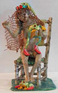"""The Dream Wedding of Prince Frog - 14""""h x 12""""d x 8""""w - Paper Mache' clay, Sculpey clay and string netting."""