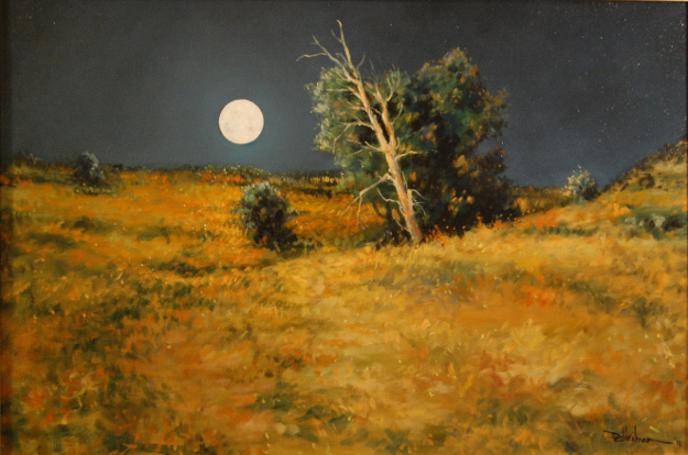 """""""Full Moon Rising"""" Oil on canvas - 20"""" x 30"""" Sorry, this one has sold!"""