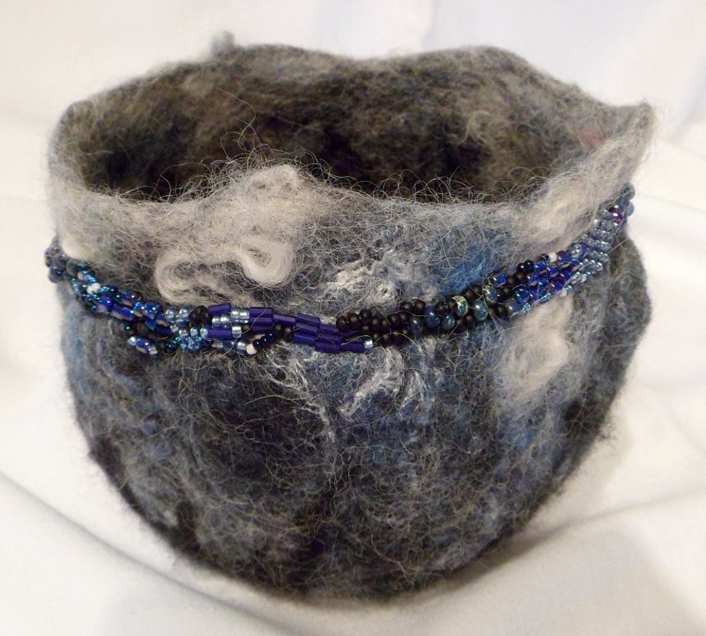 """Beaded Blue wool Bowl - approx 6"""" diameter, 4"""" at the base."""