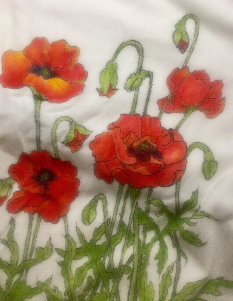 Poppies (Ink on Fabric)