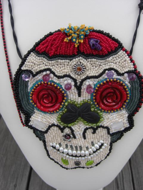 Unique Beaded Necklace Pendant.