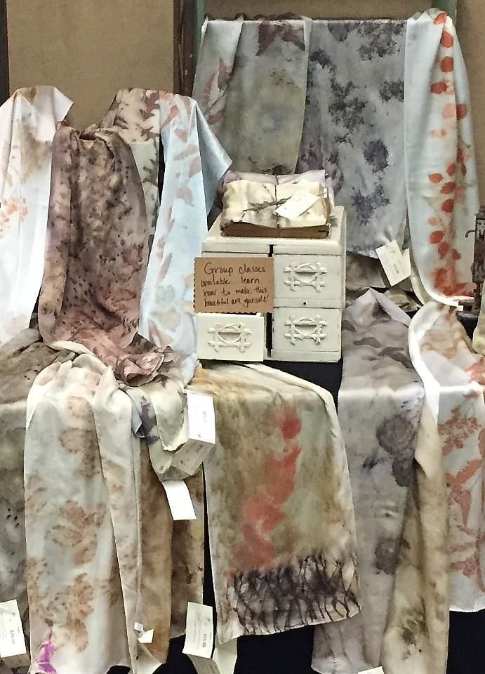 Silk Scarves, pillows, napkins, placemats, coasters and more. All Eco-dyed by hand using natural elements.
