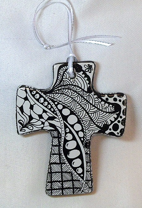 CR1320a- Double sided hand painted cross.