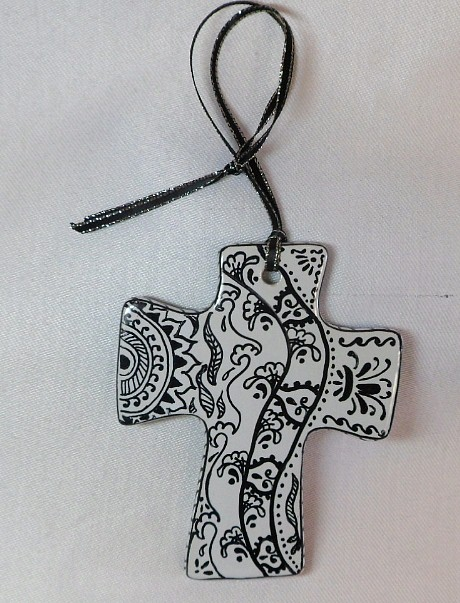 CR1321a- Double sided hand painted cross.