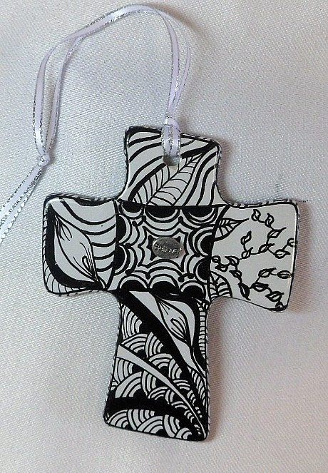 CR1325b - Double sided hand painted cross.