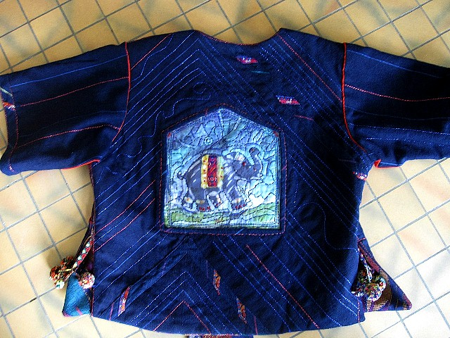 """My first batik piece (made in Pokhara, Nepal) of """"Pinkie,"""" a precious elephant. The jacket gives honor to Pinkie!"""