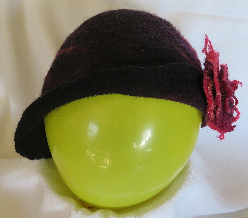 Red & Black hat felted over silk base with Pinned side flap.  Not for Sale