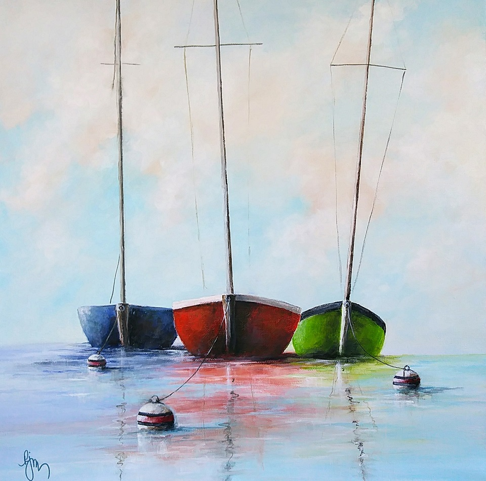 Three Sailboats at Anchor is 20x20 and is $200.00.