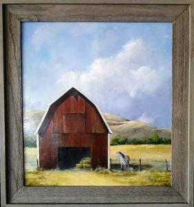 """Big Red Barn 22-1/2 x 24"""" framed - SALE $135"""